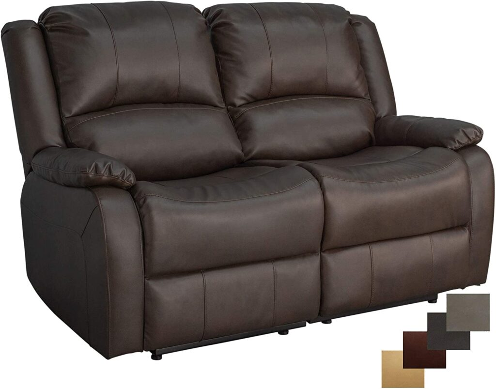 """RecPro Charles Collection 58"""" Double Recliner RV Sofa for small spaces"""