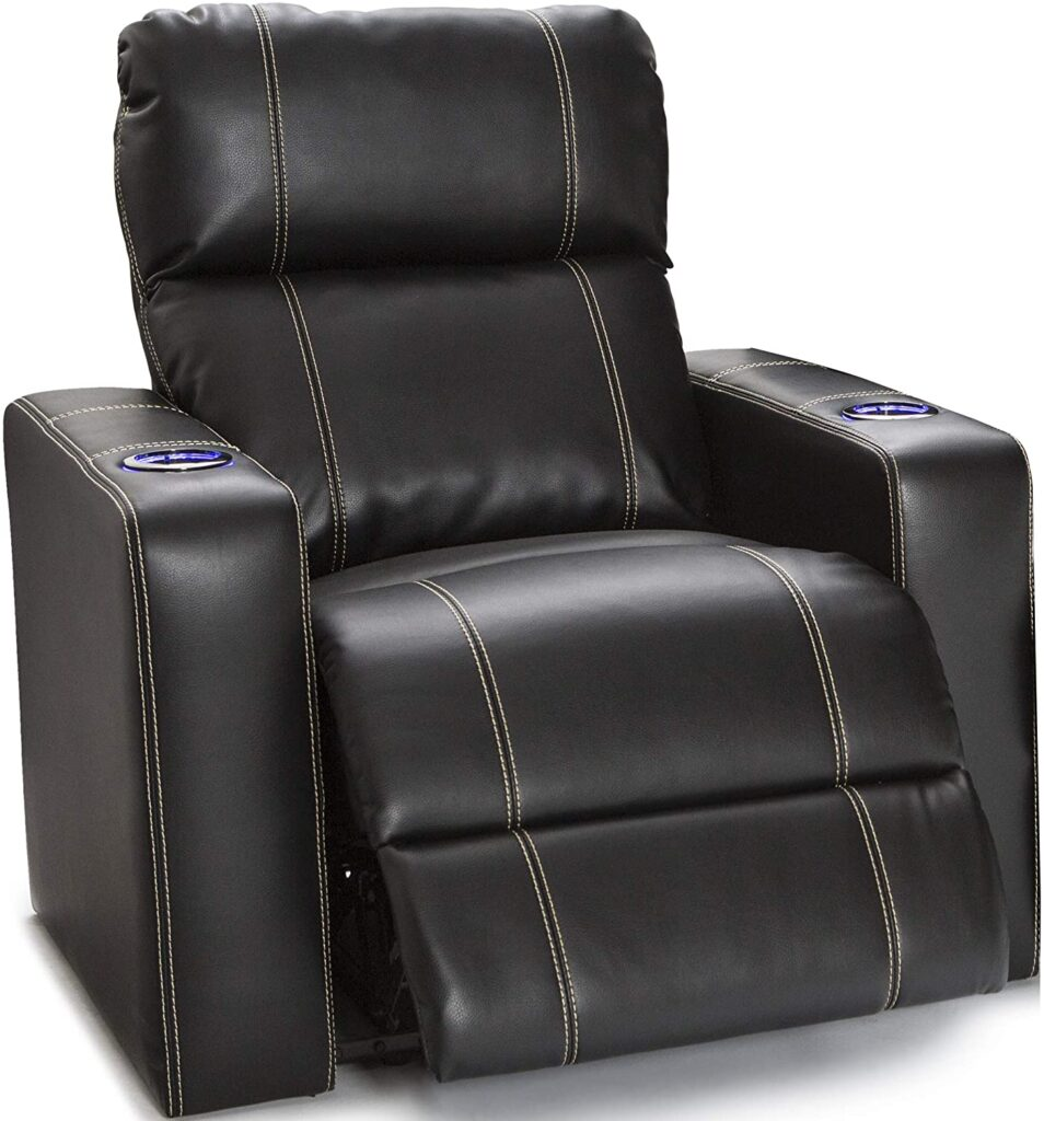 Seatcraft Dynasty – Home Theater Seating Base Lighting Single wall hugger Recliners for small spaces