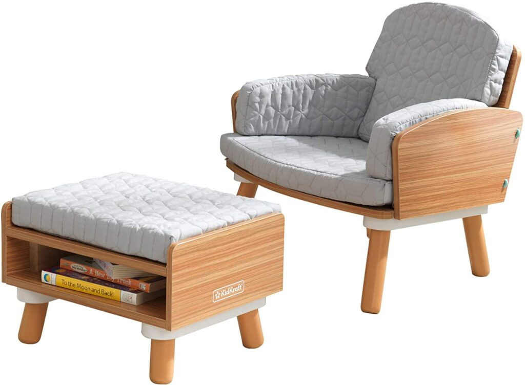 KidKraft Reading Chair and kids Ottoman with Storage
