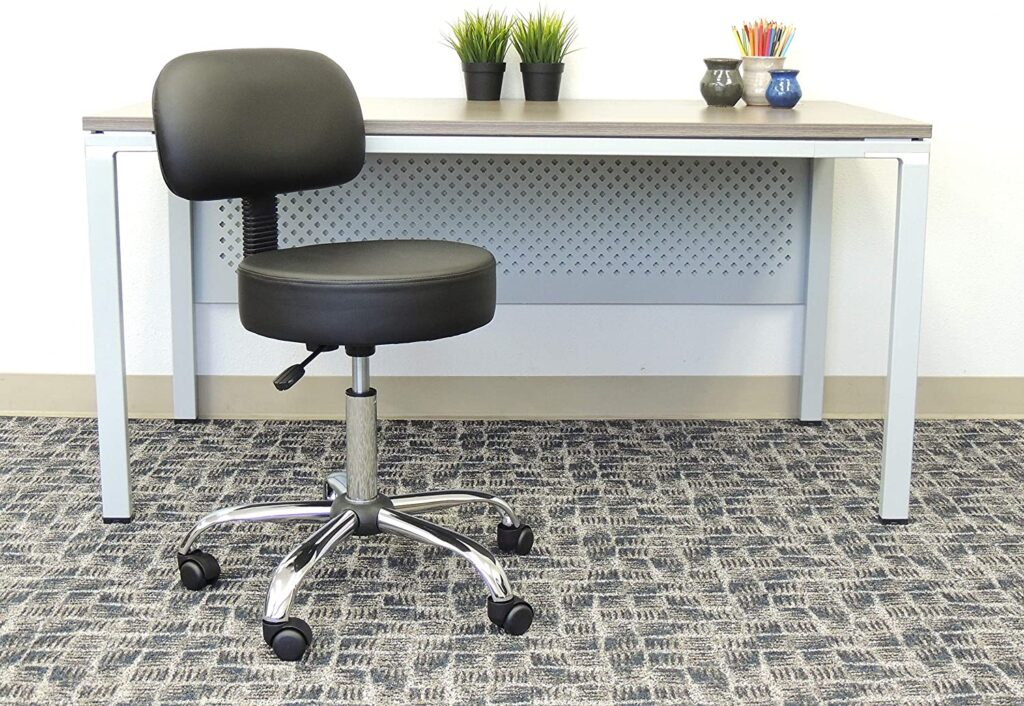 Boss Office Products Be Well Medical Spa Stool with Back Cushion for lash artists