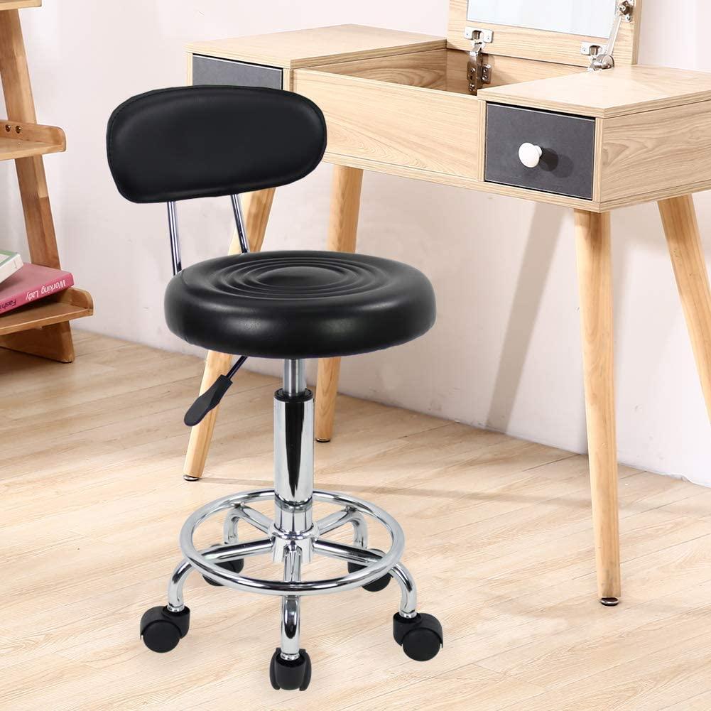 KKTONER Modern Rolling Low Back Salon Stool with Footrest