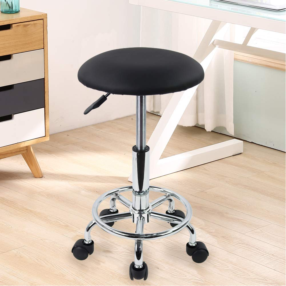 KKTONER Swivel Rolling Stool with Footrest Salon Vanity chair for lash artists
